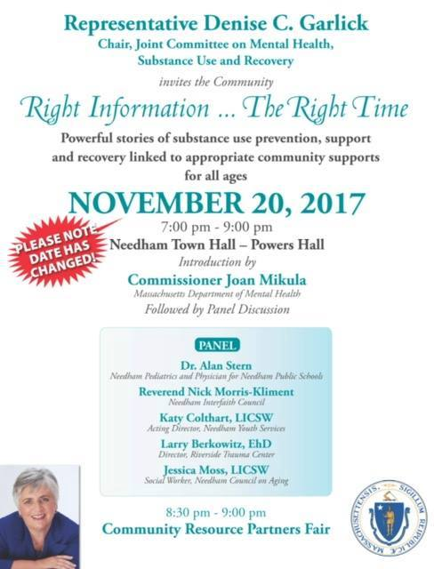 NEW DATE: Right Information … The Right Time: Panel Discussion and Community Resource Fair @ Powers Hall, Needham Town Hall | Needham | Massachusetts | United States